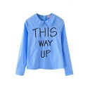Letter Embroidered Peter Pan Collar Long Sleeve Zipper Fly Blouse