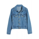 Pure Blue Single-Breasted Point Collar Denim Jacket
