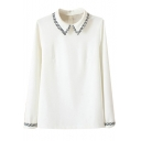 Weave Curve Embroidery Trim White Shirt