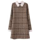 White Lapel&Cuff Plaid Pattern Wool Sweet Style Dress