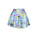 Cute Blue Emoji Print Pleated Mini Skirt