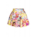 Hot Mix Emoji Print Pleated Mini Skirt
