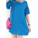 Plain Cold Shoulder Ruffled Short Sleeve Tunic Top