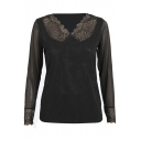 Black Lace Insert Mesh V-Neck Long Sleeve Top