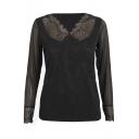 Black Lace Insert Mesh V-Neck Long Sleeve Top