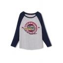 Letter Print Raglan Sleeve Tunic T-Shirt