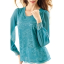 Pure Blue Lace Crochet Mesh Inserted Long Sleeve Top