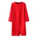 3/4 Sleeve Plain Round Neck Split Hem Fashion Slim Dress