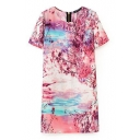 Dreamy Nature Scenery Print Round Neck Short Sleeve Dress