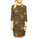 3/4 Sleeve Luxurious Ethnic Pattern Print Yellow Dress