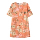 Short Sleeve Orange Background Pink Flower Print Elegant Style Slim Dress