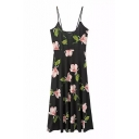 Orchid Print Slip V-Neck Side Split Black Dress