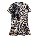 Ruffle Hem Round Neck Short Sleeve Leopard Print Wild Style Dress