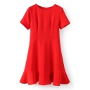 Red Round Neck Short Sleeve Ruffle Dress