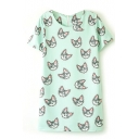 Cat Print Round Neck Short Sleeve Shift Dress