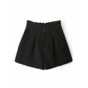 Black High Waist Three Button Fly Wool Shorts