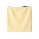 Light Yellow Plain Mini Cotton Mini Skirt