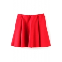 Red Plain Ruffle Hem Zippered Mini Skirt