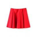 Red Plain Ruffle Hem Zippered Mini Skirt