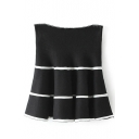 Stripe Print High Waist Ruffle Hem Full Skirt