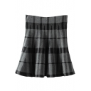 Black&Gray Plaid&Geo Pattern Skater Skirt