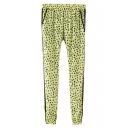Green Leopard Print Elastic Waist Pants