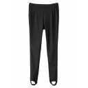 Black Plain Elastic Waist Foot Leggings