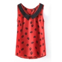 Red Sleeveless Leaf Print Chiffon Blouse
