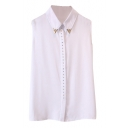 White Metal Embellished Sleeveless Chiffon Top