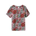 Red Floral Print Round Neck Short Sleeve Blouse