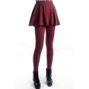 Burgundy Leggings with A-line Skirt Cover