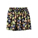 Black Background Flora Print Chiffon Skater Skirt