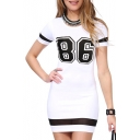 White 86 Print Mesh Insert Short Sleeve Dress