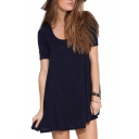 Navy Round Neck Short Sleeve A-Line Dress