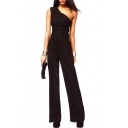 Black Sleeveless One Shoulder Fitted Jumpsuits