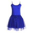 Royal Blue Modal&Mesh Panel Mini A-line Slip Dress