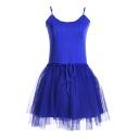Royal Blue Modal&Mesh Panel Mini A-line Slip Dress