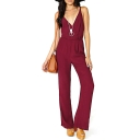 Burgundy V-Neck Open Back Plain Chiffon Jumpsuits