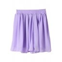 Purple Plain Elastic Waist Pleated Chiffon Skirt