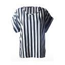 Vertical Stripes Print Short Sleeve Chiffon T-Shirt