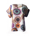 White Short Sleeve Colorful Geometric Print Chiffon T-Shirt
