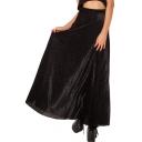 Black Leopard Pattern Velvet Maxi Skirt