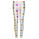 White High Waist Emoji Print Fitted Skinny Leggings