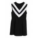 V-Neck Geometric V Pattern Sleeveless Mini Slim Dress
