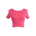 Plain Ribbed Knitting Short Sleeve Round Neck Sweater