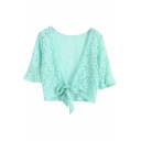 Plain Lace Crochet Bow Front Short Sleeve Crop Coat