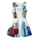 Rose&Trees&Guitar Print White Tanks Dress