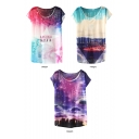 Letter Galaxy Star Print T-Shirt in Loos Fit