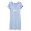 Blue Hooded V-Neck Short Sleeve Letter Print Fitted Dress
