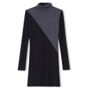 Color Block High Collar Long Sleeve Fitted Dress